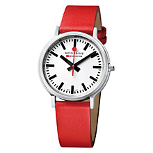 Buy Mondaine Unisex Stop 2 Go Leather Strap Watch Online at johnlewis.com