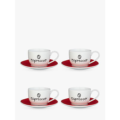 John Lewis Espresso Cup and Saucer, Set of 4, Red/White