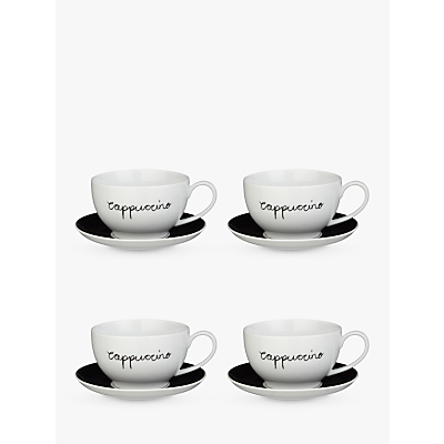 John Lewis Cappuccino Cup and Saucer, Set of 4, Black/White