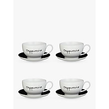 Buy John Lewis Cappuccino Cup and Saucer, Set of 4, Black/White Online at johnlewis.com