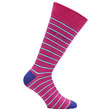 Buy Ted Baker Freetan Striped Socks, One Size, Pink Online at johnlewis.com