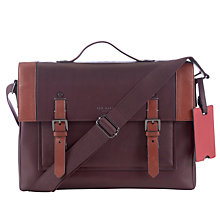 Buy Ted Baker Kantoo Leather Messenger Bag, Oxblood Online at johnlewis.com