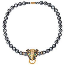 Buy Susan Caplan Vintage 1980s KJ Lane Faux Pearl Panther Necklace, Gunmetal Online at johnlewis.com