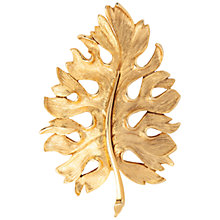 Buy Susan Caplan Vintage 1970s Oscar De La Renta Leaf Brooch, Gold Online at johnlewis.com