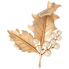 Buy Susan Caplan Vintage 1960s Trifari Faux Pearl Leaf Brooch, Gold Online at johnlewis.com