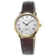 Buy Frédérique Constant FC-235M1S5 Women's Slim Line Leather Strap Watch, Brown / Gold Online at johnlewis.com