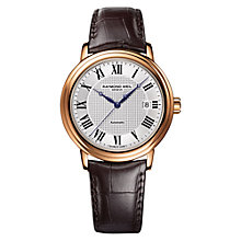 Buy Raymond Weil 2837-PC-00659 Men's Maestro Leather Strap Watch, Black/Silver Online at johnlewis.com
