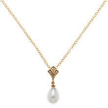 Buy Clare Jordan Gold Plated Crystal & Pearl Necklace, Gold Online at johnlewis.com