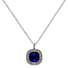 Buy Clare Jordan Rhodium Plated & Crystal Square Necklace, Blue/Silver Online at johnlewis.com