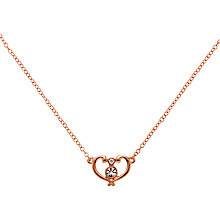 Buy Clare Jordan Rose Gold Plated Crystal Heart Necklace, Rose Gold Online at johnlewis.com