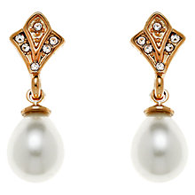 Buy Clare Jordan Gold-Plated Crystal & Pearl Drop Earrings, Gold Online at johnlewis.com