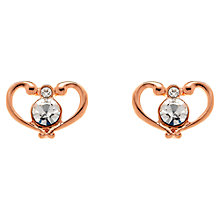 Buy Clare Jordan Rose Gold Plated Crystal Open Heart Earrings, Rose Gold Online at johnlewis.com