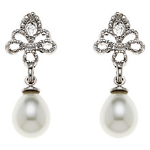 Buy Clare Jordan Rhodium Plated Teardrop Pearl Drop Earrings, White/Silver Online at johnlewis.com