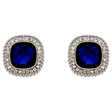 Buy Clare Jordan Rhodium Plated & Crystal Square Stud Earrings, Blue/Silver Online at johnlewis.com
