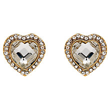 Buy Clare Jordan Gold Plated Crystal Heart-Shaped Stud Earrings, Gold Online at johnlewis.com