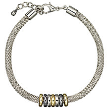 Buy John Lewis Mini Circles Mesh Bracelet, Silver/Gunmetal Online at johnlewis.com