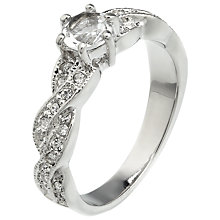 Buy John Lewis Solitaire Twisted Ring, Silver Online at johnlewis.com