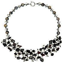 Buy John Lewis Short Cluster Drop Necklace, Black/Grey Online at johnlewis.com