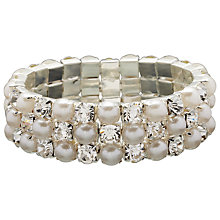 Buy John Lewis Faux Pearl And Cubic Zirconia Stretch Bracelet, White Online at johnlewis.com