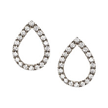 Buy Orelia Fine Sterling Silver Open Teardrop Crystal Earrings, Silver Online at johnlewis.com