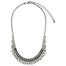 Buy John Lewis Diamante Scoop Necklace, Gunmetal Online at johnlewis.com