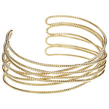 Buy John Lewis Fine Sparkle Cross Over Cuff Bracelet, Gold Online at johnlewis.com