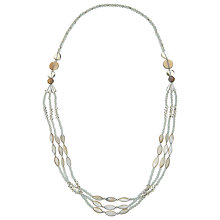 Buy John Lewis Long Layered Drop Necklace, Milky Grey/Clear Online at johnlewis.com