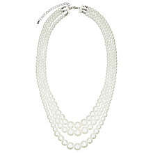 Buy John Lewis 3 Row Faux Pearl Necklace, White Online at johnlewis.com