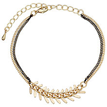 Buy John Lewis Large Leaf Double Chain Bracelet, Gold Online at johnlewis.com