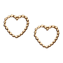 Buy Orelia Fine Gold Plated Sterling Silver Tiny Open Heart Stud Earrings, Gold Online at johnlewis.com