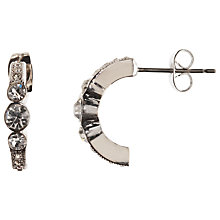 Buy John Lewis Half-Hoop 3 Stone Stud Earrings, Silver Online at johnlewis.com