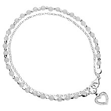Buy Astley Clarke Sterling Silver Diamond Heart Friendship Bracelet, Silver/Grey Online at johnlewis.com