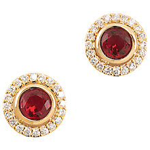 Buy Carolee Pave Button Crystal Stud Earrings, Red Online at johnlewis.com