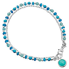 Buy Astley Clarke Be Very Cool Sterling Silver Turquiose Friendship Bracelet, Silver/Turquiose Online at johnlewis.com