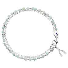 Buy Astley Clarke Sterling Silver Wishbone Friendship Bracelet, Silver/Green Online at johnlewis.com
