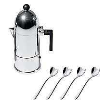 Buy Alessi Espresso Maker with 50% off Love Heart Espresso Spoons Online at johnlewis.com