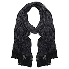 Buy Mint Velvet Lace Trim Snake Print Jersey Scarf, Multi Grey Online at johnlewis.com