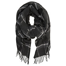 Buy Hygge by Mint Velvet Checked Blanket Scarf, Grey Online at johnlewis.com