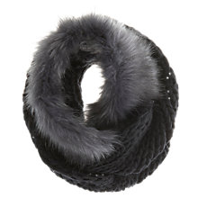 Buy Mint Velvet Cable Knit and Faux Fur Scarf, Blue Online at johnlewis.com