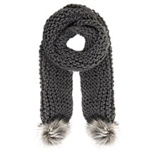 Buy Mint Velvet Pom Pom Scarf, Grey Online at johnlewis.com