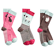 Buy Joules Animal Ankle Socks, Pack Of 3, Multi Online at johnlewis.com