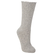Buy John Lewis Wool Silk Ribbed Ankle Socks, One Size, Grey Online at johnlewis.com