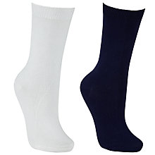 Buy John Lewis Plain Ankle Socks, Pack of 2, Navy/White Online at johnlewis.com