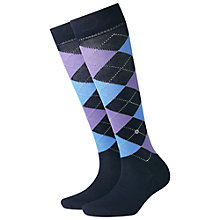 Buy Burlington Covent Garden Check Knee High Socks, Navy Online at johnlewis.com