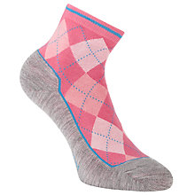 Buy Burlington Margate Argyle Ankle Socks, Pink Online at johnlewis.com