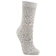 Buy John Lewis Animal Print Ankle Socks, Grey/Orange Online at johnlewis.com