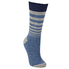 Buy John Lewis Wool Silk Graduated Stripe Ankle Socks, One Size Denim Online at johnlewis.com