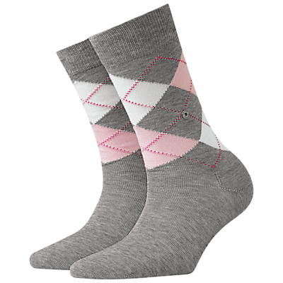 Burlington Covent Garden Check Ankle Socks, Grey