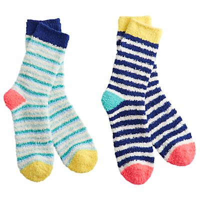 Joules Fluffy Short Stripe Ankle Socks, Pack of 2