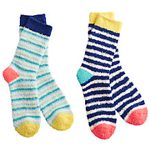 Buy Joules Fluffy Short Stripe Ankle Socks, Pack of 2 Online at johnlewis.com